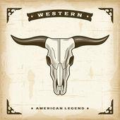 Vintage Western Bull Skull — Stock Vector