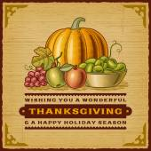 Vintage Thanksgiving Card — Stock Vector