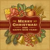Merry Christmas Retro Card — Stock Vector