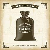 Vintage Western Money Bag — Vector de stock