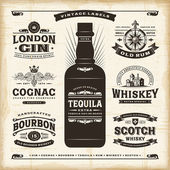 Vintage alcohol labels collection — Stock Vector