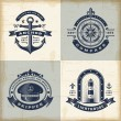Set of vintage nautical labels — Stock Vector #84313278