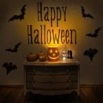 Halloween Jack-O-Lantern Pumpkin on a chair. — Stock Photo #62568127