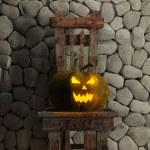 Halloween Jack-O-Lantern Pumpkin on a chair. — Stock Photo #62568231
