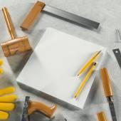 Manichino modello di affari. Area di lavoro del carpentiere. — Foto Stock