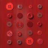 Red buttons arranged in rows on a red paper background — Stock Photo