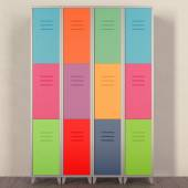 Vector set of colorful metal school lockers — Stock Photo