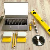 Mockup business template. Carpenter's workspace. — Stock Photo
