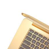 Golden laptop on a white background  — Stock Photo