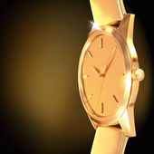 Golden watch  on a black  background — Stock Photo