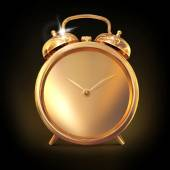 Golden old fashioned  alarm clock on black  background. — Stockfoto