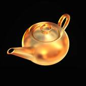 Golden teapot isolated on black  background — Stock Photo