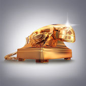 Golden phone on grey background.  — Stock Photo