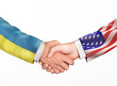 Man shake hands. Friendship countries.  — Stock fotografie
