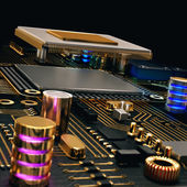 Electronic circuit chip on PC board — Stock Photo
