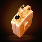 Golden canister  on black background. — Stock Photo