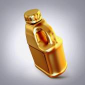 Golden canister  on grey  background. — Stock Photo