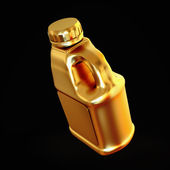 Golden canister isolated on black background. — Stock Photo