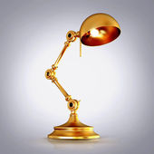 Vintage golden lamp on grey background — Foto Stock