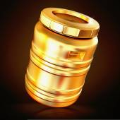 Golden plastic barrel  on a black background.  — Foto Stock