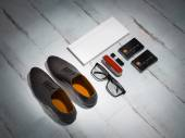 Every day carry man items collection: glasses, knife, shoes . — Stock Photo