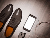 Every day carry man items collection: glasses, leash, shoes . — Stock Photo