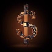 Affärsidé. Dollar valutasymbol av mikrochips på svart bakgrund. — Stockfoto