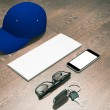 Every day carry man items collection: glasses, cap, key. — Stock Photo #70581829