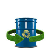 Fuel tank and green arrows from the grass. Recycling concept isolation on white — Stock Photo