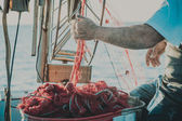 Bright orange fishing net with floats. Fisher boat in a sea. Hands of an old fisherman — Stock Photo