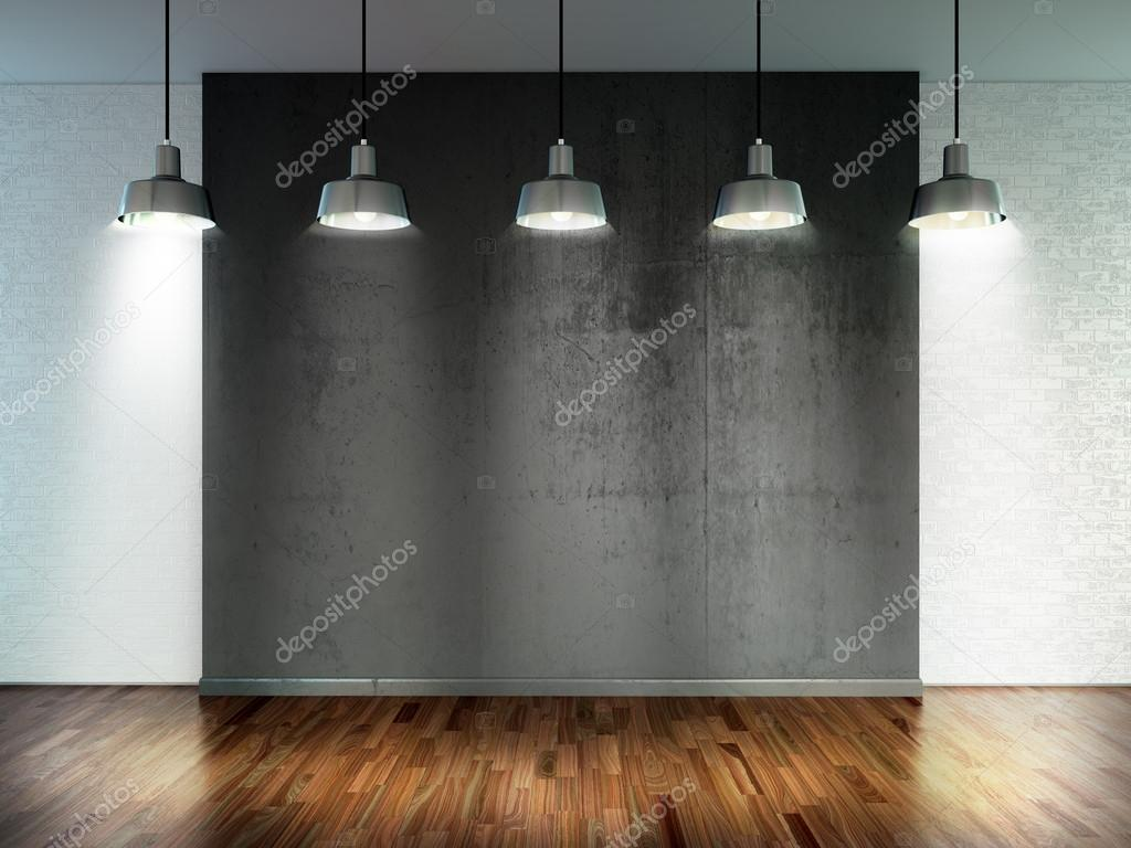 Room with spotlight lamps, empty space with wooden flooring and ...