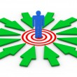 3d man on target surround by arrows — Stock Photo #59675527
