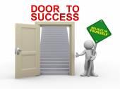 3d man and door to success — Stock Photo