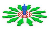 3d man on target surround by arrows — Foto de Stock