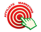 3d hand cursor and affiliate marketing target — Photo