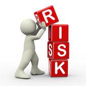 3d man placing risk cubes — Fotografia Stock