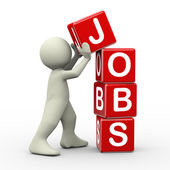 3d man placing jobs cubes — Stock Photo