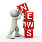3d man placing news cubes — Fotografia Stock