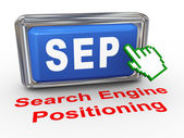 3d hand cursor sep - search engine positioning button — Stock Photo