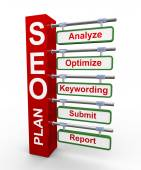 3d concept of Seo search engine optimization plan — Stock Photo