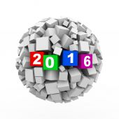 3d abstract cubes ball sphere year 2016 — Stock Photo