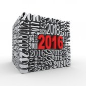 3d 2016 new year cube — Stock Photo