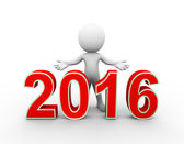 3d man new year 2016 welcome — Stock Photo