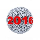 3d abstract alphabet ball 2016 — Stock Photo