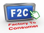 3d hand cursor f2c factory to consumer button — Stock Photo