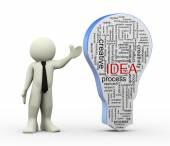 3d man with idea bulb word tags — Stock Photo