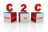 3D-box av c2c - klient till klient — Stockfoto