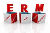 3d box of erm - enterprise risk management — Stock Photo