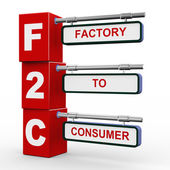 3d modern signboard of f2c — Stock Photo