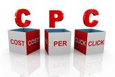 3D-box av cpc - kostnad per klick — Stockfoto